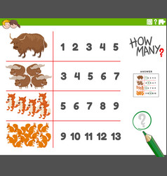 Counting task with cartoon animal characters vector