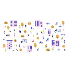 crowd tiny people walking with children or dogs vector image