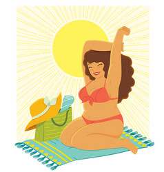 curvy woman at beach vector image