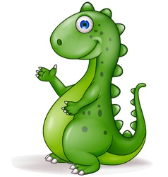 Cute Green Dinosaur vector image