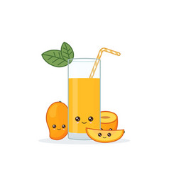 cute kawaii smiling cartoon mango juice vector image