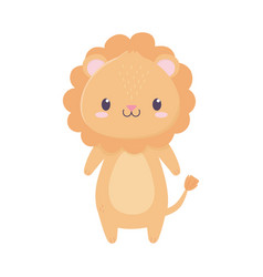 cute lion animal cartoon isolated icon vector image