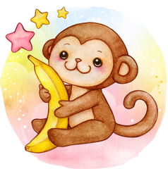 Cute watercolor baby monkey with banana sitting vector