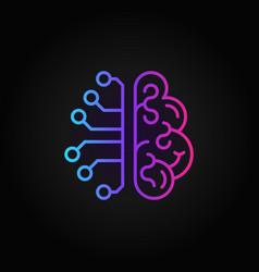 Cyberbrain creative outline icon - ai brain vector
