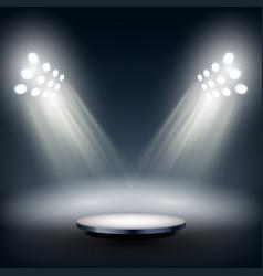 Dark round stage illuminated big spotlights vector