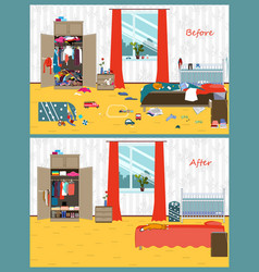 dirty and clean room disorder in the interior vector image