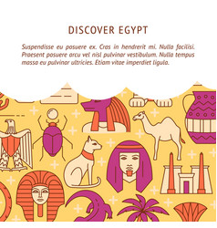 discover egypt concept background in colored line vector image
