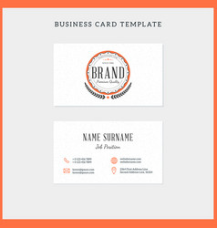 double-sided vintage business card template with vector image