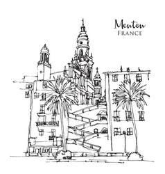 drawing sketch menton a town in southeast vector image