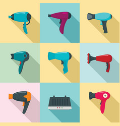 Dryer icon set flat style vector