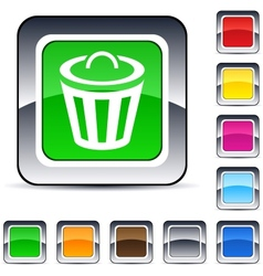 dustbin square button vector image