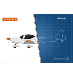 Engineering blueprint of plane side view airplane vector