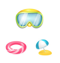 equipment and swimming sign vector image