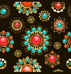 ethnic brooches seamless pattern vector image