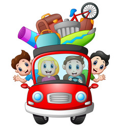 Family traveling in a car vector