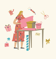 Female character making and packing gifts for vector