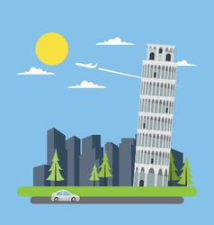 Flat design leaning tower pisa vector