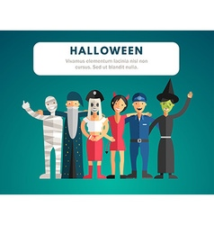 Flat Design of Halloween Monster Costumes vector image