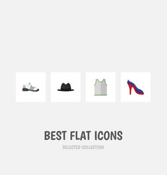 Flat icon dress set of singlet panama heeled vector