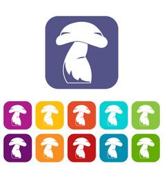 Good mushroom icons set flat vector
