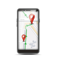 gps app concept smartphone with wireless vector image