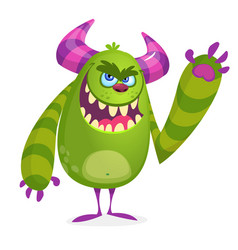 Green angry cartoon monster vector