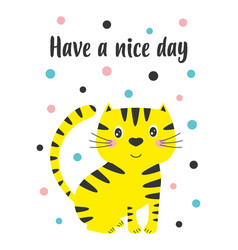 greeting card with cute cat isolated on white vector image