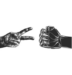 Hand drawn sketch victory and robot fist vector