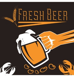 hand with a glass of beer retro vector image vector image