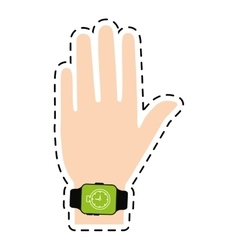 Hand with smart watch timer technology line vector