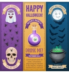 Happy Halloween three stylish vertical banners vector image
