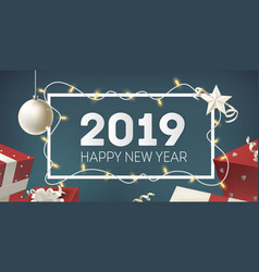 happy new year horizontal banner template with vector image