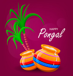 Happy pongal greeting card on violet background vector