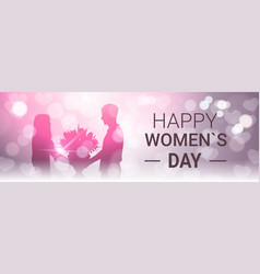 Happy women day horizontal banner with silhoutte vector