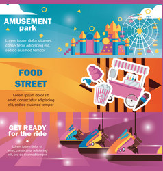 horizontal banners for amusement park with vector image