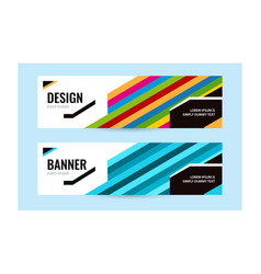 horizontal banners with bright line blue and vector image