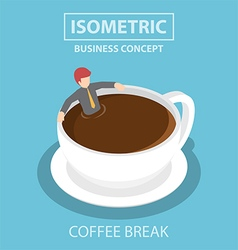 Isometric businessman relaxing in a cup of coffee vector