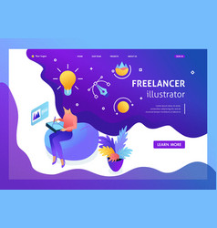 Isometric landing page freelancer vector