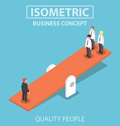 Isometric quality businessman weighing more than vector image
