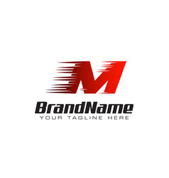 letter initial m speed logo design template vector image