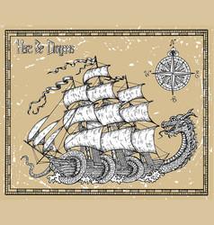 leviathan dragon striking sailboat vector image