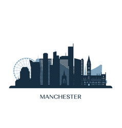 manchester skyline monochrome silhouette vector image