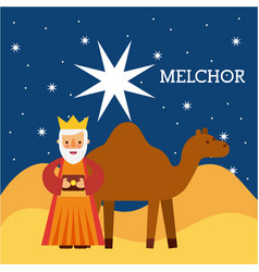 Melchor wise king nad camel wise king manger vector
