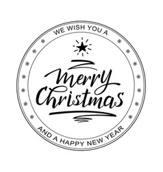 merry christmas rubber stamp black white vector image