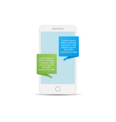 Mobile phone with messaging icon flat design vector