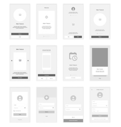 Mobile Screens wireframe User Interface Kit vector