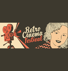Movie banner with retro camera and girls face vector