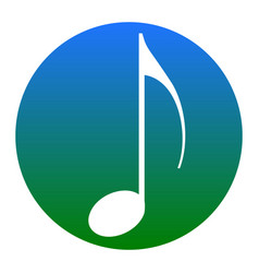 music note sign white icon in bluish vector image