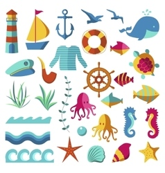 Nautical and marine icons vector image