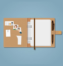 notebook with snap and pen vector image
